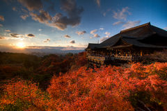 Kyoto bij Zonsondergang Stock Foto