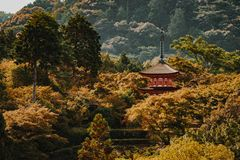 Kyoto Buddhist temple and pagoda in Japan. Zen Buddha temple in Kyoto Royalty Free Stock Images