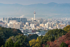 Kyoto City with autumn season in Japan view from Kiyomizu Temple. Kyoto City in autumn season in Japan, view from Kiyomizu Temple Stock Photography