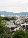 Kyoto City with cloudy view from Kiyomizu Temple. Royalty Free Stock Photo