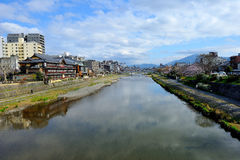 Kyoto city. Landscape view of kyoto river in kyoto Royalty Free Stock Image