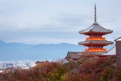 Kyoto city and red pagoda of Kiyomizu-dera Temple in autumn. At Kyoto, Kansai, Japan Royalty Free Stock Image