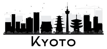 Kyoto City skyline black and white silhouette. Stock Photo