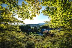 Kyoto City Skyline in Japan with temples an japanese garden visi Stock Photos