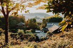 Kyoto city and temple at sunset in spring Royalty Free Stock Images