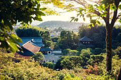 Kyoto city and temple at sunset in spring. Kyoto city skyline Stock Photo