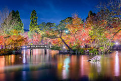 Kyoto Garden Autumn Night Royalty Free Stock Images