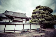 Kyoto, garden and temple,Japan. Royalty Free Stock Photo