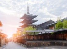 KYOTO, GIAPPONE 12 giugno 2018 Distretto di Higashiyama e pagoda di Yasaka fotografia stock