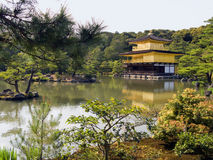 Kyoto Gold pavilion Temple. The gold pavilion is the most famous temple of Kyoto, called also Kinkakuji Royalty Free Stock Photo