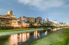 Kyoto horisont längs floden, Japan Royaltyfria Foton