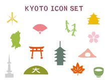 Kyoto icon set1. It is an illustration of a Kyoto icon set stock illustration