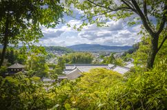 Nice view of kyoto through the trees. Kyoto. Japan. Kyoto is an important city of Japan, located in the central part of the island of Honshu. It is the capital stock photography