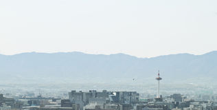 Kyoto with its tower. Sight of central kyoto from a high sight Stock Image