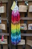 Kyoto, Japão, grupo dos pássaros de papel do guindaste do origâmi e ema Imagens de Stock Royalty Free