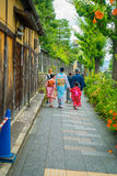KYOTO, JAPÓN - 5 DE JULIO DE 2017: Gente no identificada que camina en una pequeña ciudad para visitar la hermosa vista de la pag Imagen de archivo libre de regalías