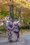 KYOTO, JAPÓN - noviembre, 18, 2014: Dos muchachas japonesas Imagen de archivo libre de regalías