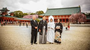 Japanese bride and groom at the temple royalty free stock photography