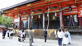 The Honden of Yasaka Shrine. Kyoto, Japan - April 24, 2017: The Honden, Main Hall of Yasaka Shrine or Gion Shrine, one of the most famous shrines in Kyoto stock footage