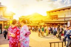 Kimono women in Kyoto. Kyoto, Japan - April 24, 2017: Japanese women wearing traditional kimono at entrance of Kiyomizu-dera Temple. Sannen-zaka, Southern Stock Photos