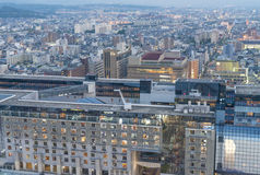 KYOTO, JAPAN - APRIL 2016: Panoramic city view at sunset. Kyoto Stock Photography