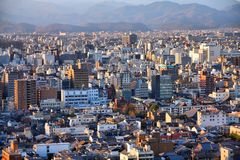 Kyoto. Japan - cityscape. Aerial view in sunset light Royalty Free Stock Photo