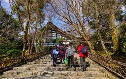 People visit Buddhist temple in Kyoto, Japan royalty free stock image