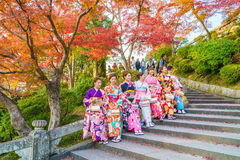 Kyoto, JAPAN-December 2: Beautiful  Young woman wearing a kimono Royalty Free Stock Photo