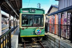 KYOTO, JAPAN - December 6, 2016 - Keifuku Randen Tram Line arriv. Ing at Arashiyama Randen Station Royalty Free Stock Images