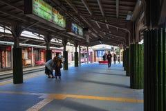 KYOTO, JAPAN - December 6, 2016 - Keifuku Randen Tram Line. Arriving at Arashiyama Randen Station Royalty Free Stock Images