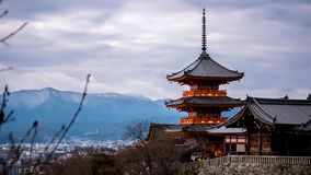 Winter view to Kiyomizu-dera triple tower stock photography