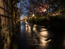 The Gion Canal by night royalty free stock photos