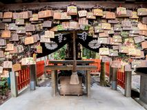 Shrine covered with prays royalty free stock images