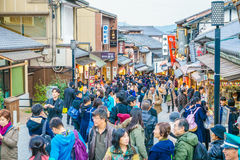 Kyoto, JAPAN-December 2: Tourists walk on a street around Kiyomi Royalty Free Stock Photography