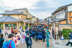 Kyoto, JAPAN-December 2: Tourists walk on a street Royalty Free Stock Images