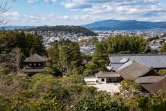 Aerial view of Kyoto and green forest from Ginkaku-ji Temple stock images