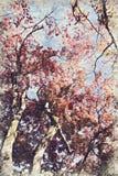 Kyoto, Japan het gebladerte van de esdoornherfst Digitaal Art Impasto Oil Pain stock fotografie