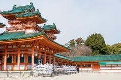 KYOTO, JAPAN - 12 Januari 2015: Heian-Jinguheiligdom een beroemd heiligdom stock afbeeldingen