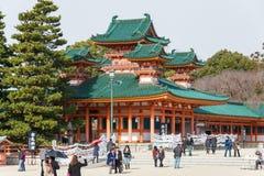 KYOTO, JAPAN - 12 Januari 2015: Heian-Jinguheiligdom een beroemd heiligdom royalty-vrije stock fotografie
