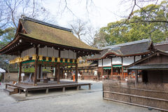 KYOTO JAPAN - Januari 12 2015: Kawai-jinja relikskrin på en Shimogamo-ji Arkivbilder