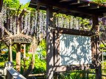 KYOTO, JAPAN - JULI 05, 2017: Japanessebrieven in een houten raad bij in openlucht dichtbij van een gestileerde japanesse tempel  Royalty-vrije Stock Foto