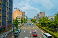 KYOTO, JAPAN - JULY 05, 2017: Cars on the street of Kyoto in Japan. Kyoto Metropolis is one of the most populous city of Royalty Free Stock Photos