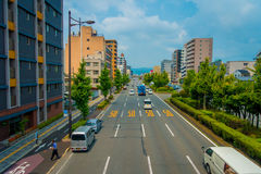 KYOTO, JAPAN - JULY 05, 2017: Cars on the street of Kyoto in Japan. Kyoto Metropolis is one of the most populous city of Stock Image