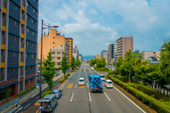 KYOTO, JAPAN - JULY 05, 2017: Cars on the street of Kyoto in Japan. Kyoto Metropolis is one of the most populous city of Stock Photo