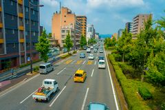 KYOTO, JAPAN - JULY 05, 2017: Cars on the street of Kyoto in Japan. Kyoto Metropolis is one of the most populous city of. Japan Royalty Free Stock Photos