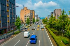 KYOTO, JAPAN - JULY 05, 2017: Cars on the street of Kyoto in Japan. Kyoto Metropolis is one of the most populous city of. Japan Stock Photo
