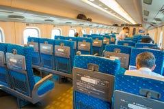 KYOTO, JAPAN - JULY 05, 2017: Indoor view of JR700 shinkansen bullet train departing Kyoto station in Kyoto, Japan.  Stock Image