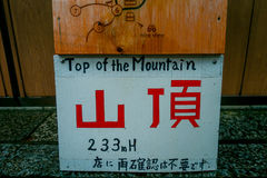KYOTO, JAPAN - JULY 05, 2017: Informative sign at the to vist the red Tori Gate at Fushimi Inari Shrine in Kyoto, Japan Royalty Free Stock Photos