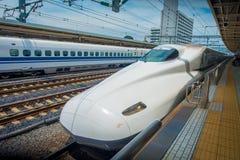 KYOTO, JAPAN - JULY 05, 2017: JR700 shinkansen bullet train departing Kyoto station in Kyoto, Japan.  Royalty Free Stock Image