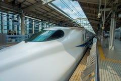 KYOTO, JAPAN - JULY 05, 2017: JR700 shinkansen bullet train departing Kyoto station in Kyoto, Japan.  Stock Photo